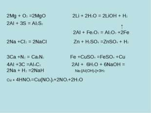 2Mg + O2 =2MgO 2Li + 2H2O = 2LiOH + H2 2AI + 3S = AI2S3 2AI + Fe2O3 = AI2O3