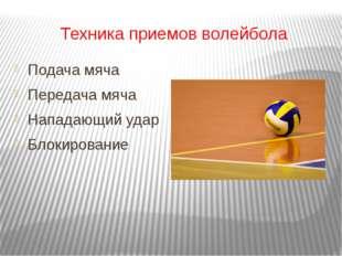 Техника приемов волейбола Подача мяча Передача мяча Нападающий удар Блокирова