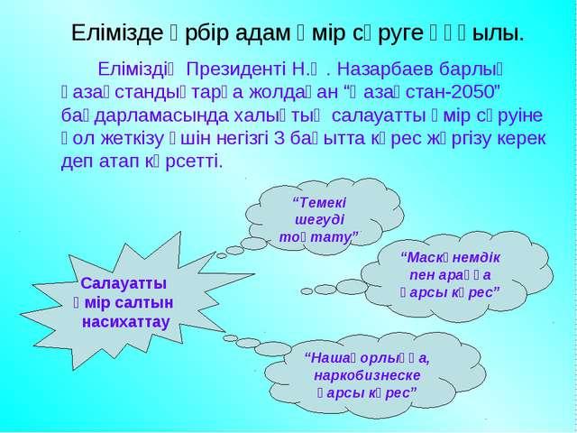 Елімізде әрбір адам өмір сүруге құқылы. Еліміздің Президенті Н.Ә. Назарбаев...