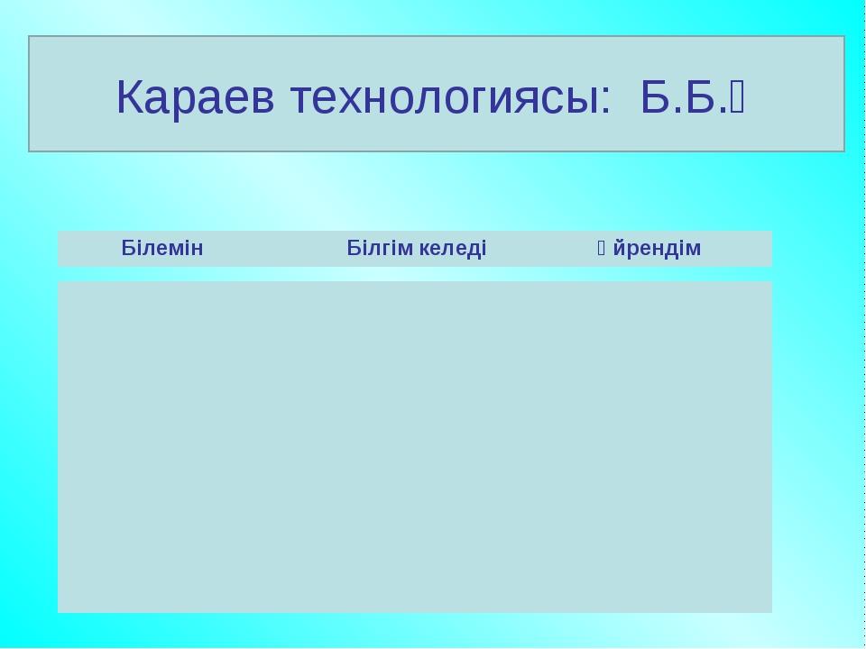 Караев технологиясы: Б.Б.Ү Білемін Білгім келеді Үйрендім