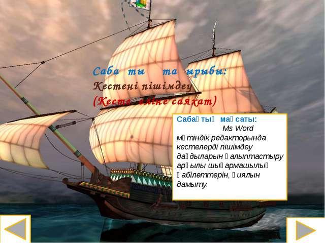 Сабақтың тақырыбы: Кестені пішімдеу (Кесте еліне саяхат) Сабақтың мақсаты: Ms...