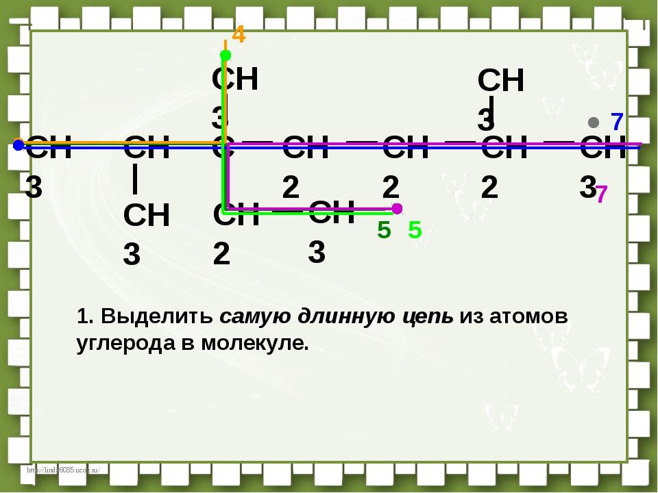 CH3 CH C CH2 CH2 CH3 CH3 CH3 CH2 CH3 CH3 CH2 5 4 7 7 1. Выделить самую длинну...