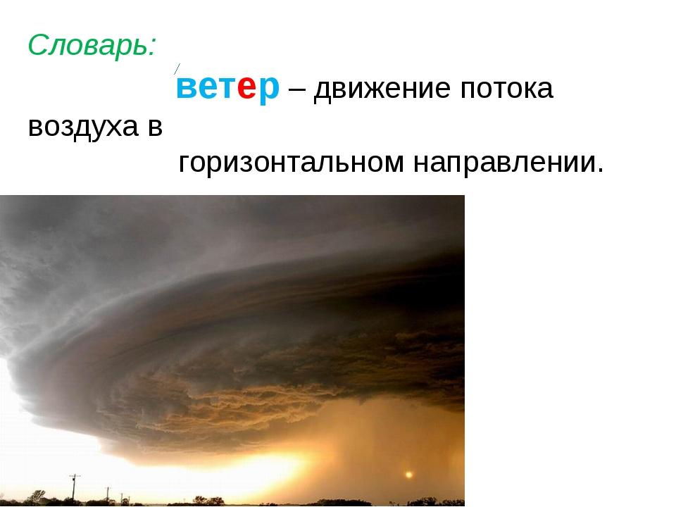Словарь: ветер – движение потока воздуха в горизонтальном направлении.