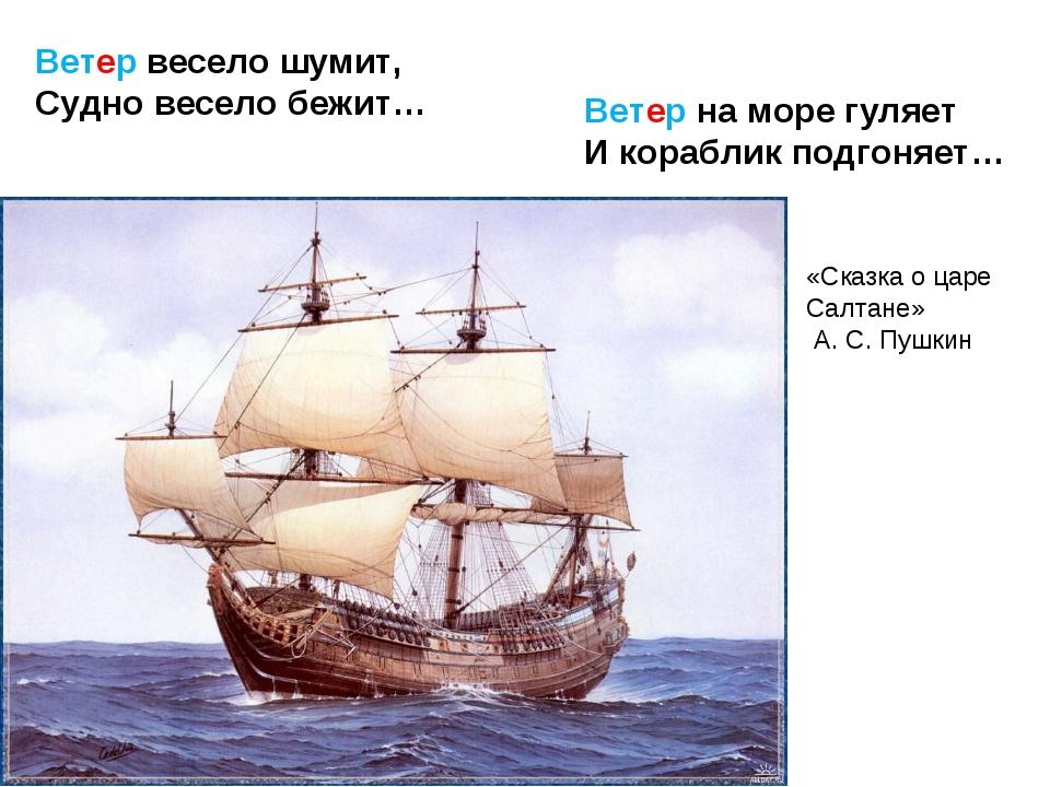 Ветер весело шумит, Судно весело бежит… Ветер на море гуляет И кораблик подго...