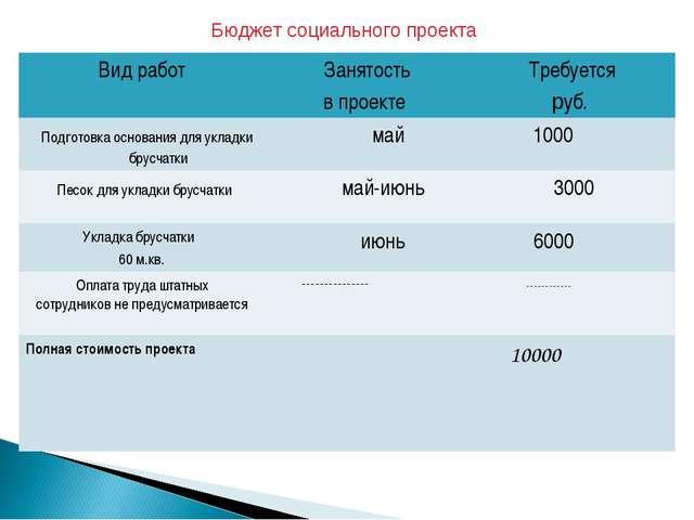 Бюджет социального проекта Вид работ Занятость в проекте Требуется руб. Под...