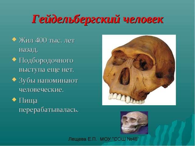 Гейдельбергский человек Жил 400 тыс. лет назад. Подбородочного выступа еще не...