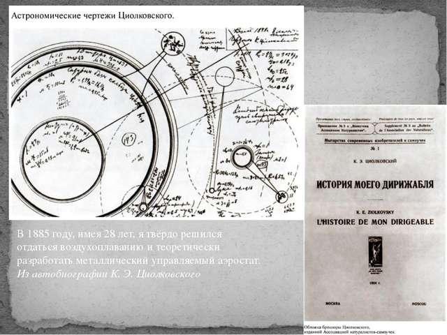 В 1885 году, имея 28 лет, я твёрдо решился отдаться воздухоплаванию и теорети...
