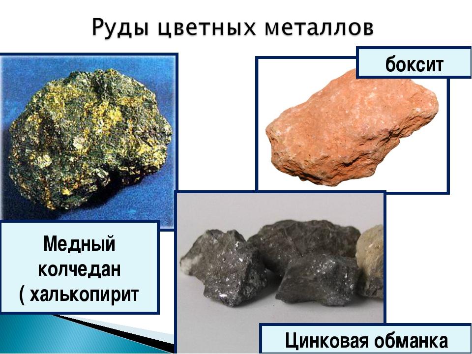 боксит Медный колчедан ( халькопирит Цинковая обманка