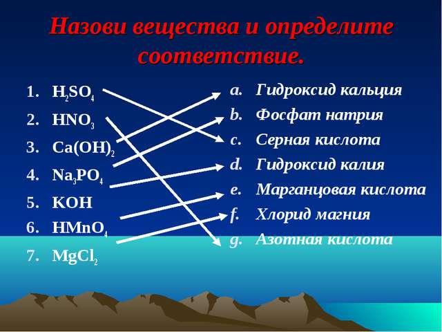 Назови вещества и определите соответствие. H2SO4 HNO3 Ca(OH)2 Na3PO4 KOH HMnO...