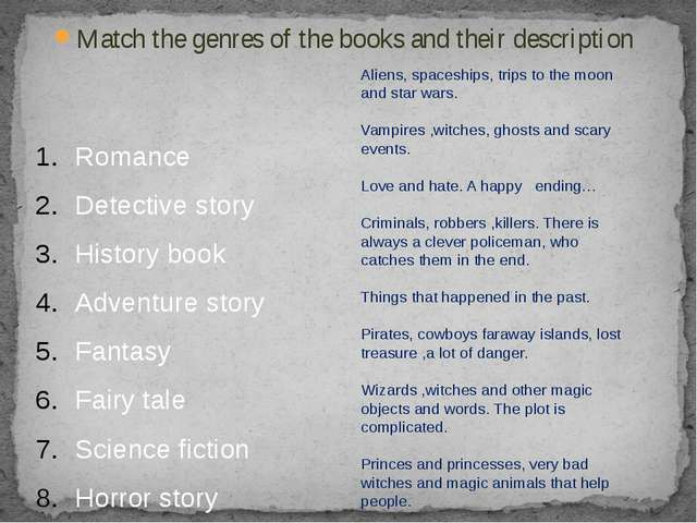 Match the genres of the books and their description Romance Detective story H...