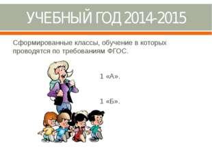 УЧЕБНЫЙ ГОД 2014-2015 Сформированные классы, обучение в которых проводятся по