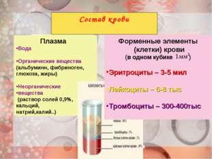 Состав крови Плазма Вода Органические вещества (альбуминн, фибриноген, глюкоз