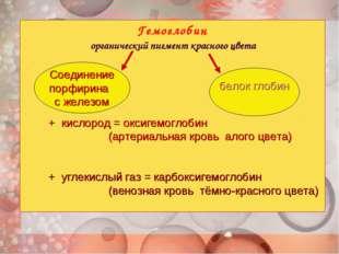 Гемоглобин органический пигмент красного цвета + кислород = оксигемоглобин (а