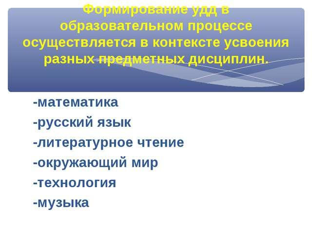 -математика -русский язык -литературное чтение -окружающий мир -технология -м...