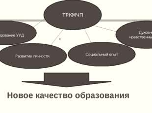 Новое качество образования ТРКМЧП Развитие личности Социальный опыт Духовно-н