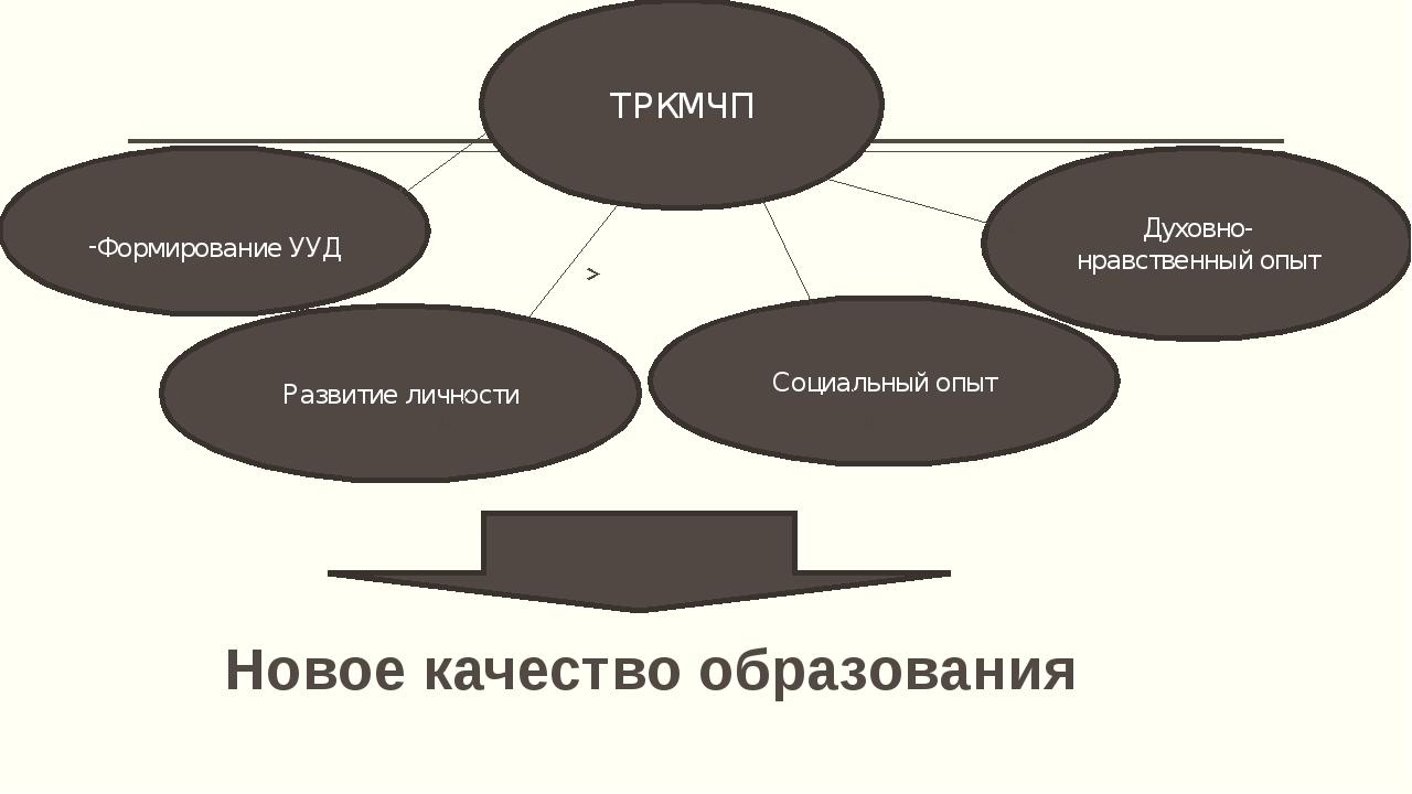 Новое качество образования ТРКМЧП Развитие личности Социальный опыт Духовно-н...