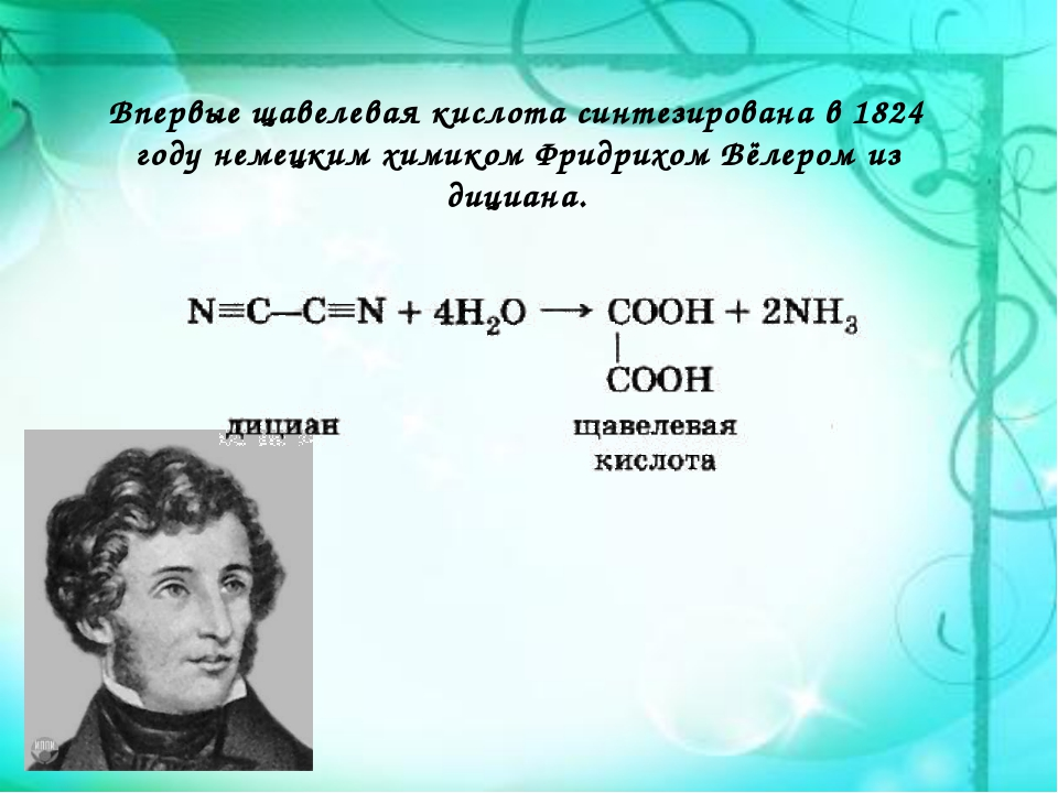 Впервые щавелевая кислота синтезирована в 1824 году немецким химикомФридрихо...