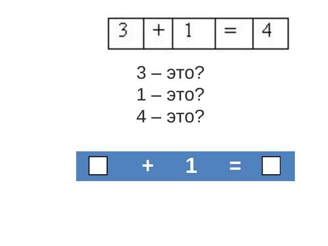 3 – это? 1 – это? 4 – это?  + 1 =