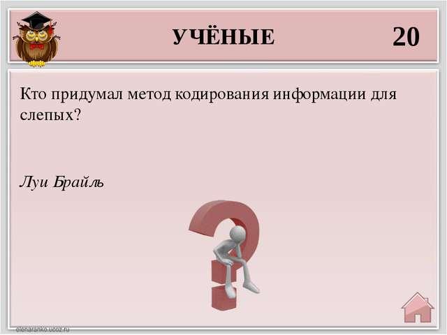 УЧЁНЫЕ 20 Луи Брайль Кто придумал метод кодирования информации для слепых?