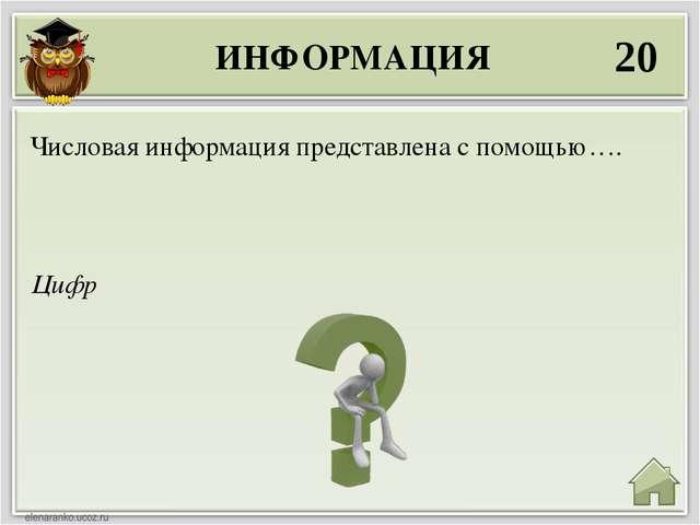 ИНФОРМАЦИЯ 20 Цифр Числовая информация представлена с помощью….