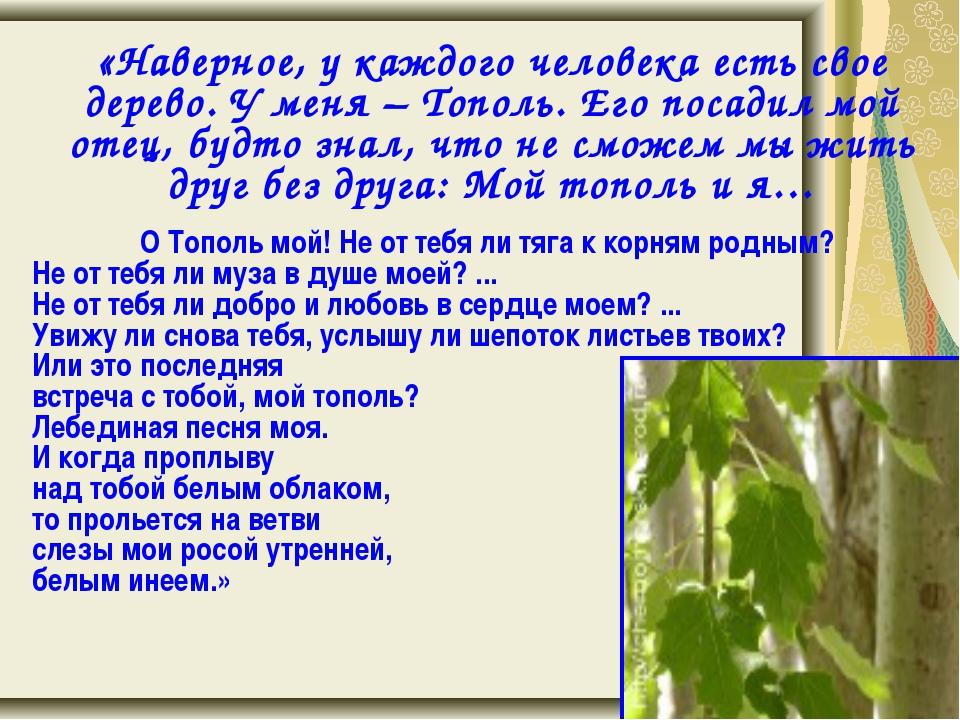 «Наверное, у каждого человека есть свое дерево. У меня – Тополь. Его посадил...