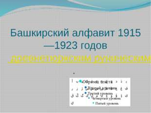 Башкирский алфавит 1915—1923 годов древнетюркским руническим письмом.