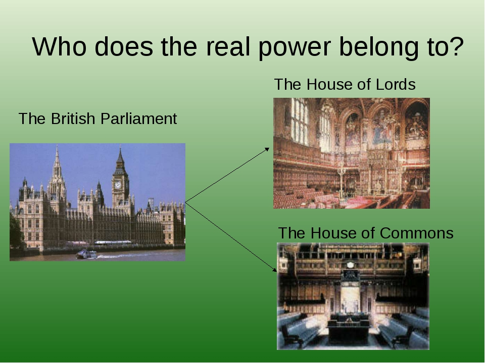 Who does the real power belong to? The British Parliament The House of Lords...