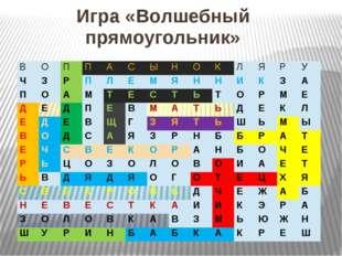 Игра «Волшебный прямоугольник» В О П П А С Ы Н О К Л Я Р У Ч З Р П Л Е М Я Н