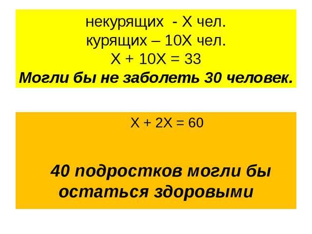 некурящих - Х чел. курящих – 10Х чел. Х + 10Х = 33 Могли бы не заболеть 30 че...