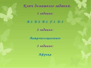 Ключ домашнего задания. 1 задание: А-3 Б-2 В-1 Г-1 Д-3 2 задание: Антропосоци