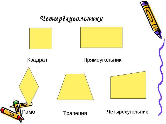 Четырёхугольники Ромб Трапеция Четырёхугольник Квадрат Прямоугольник