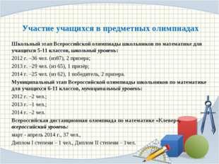 Участие учащихся в предметных олимпиадах Школьный этап Всероссийской олимпиад