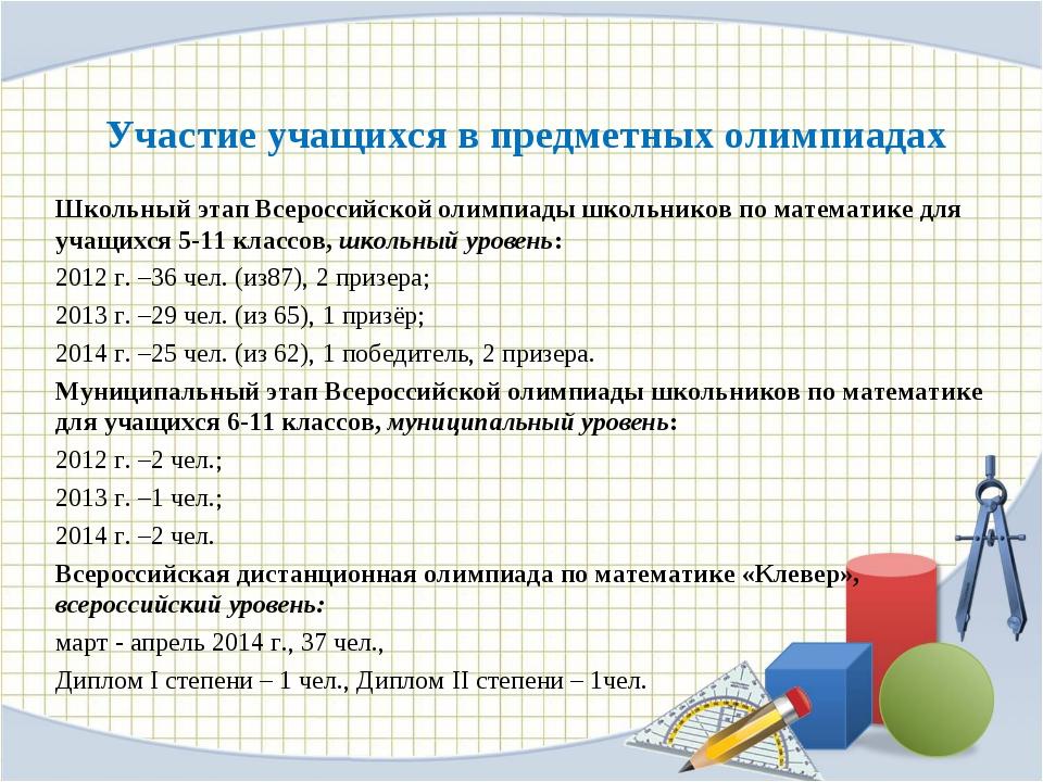 Участие учащихся в предметных олимпиадах Школьный этап Всероссийской олимпиад...