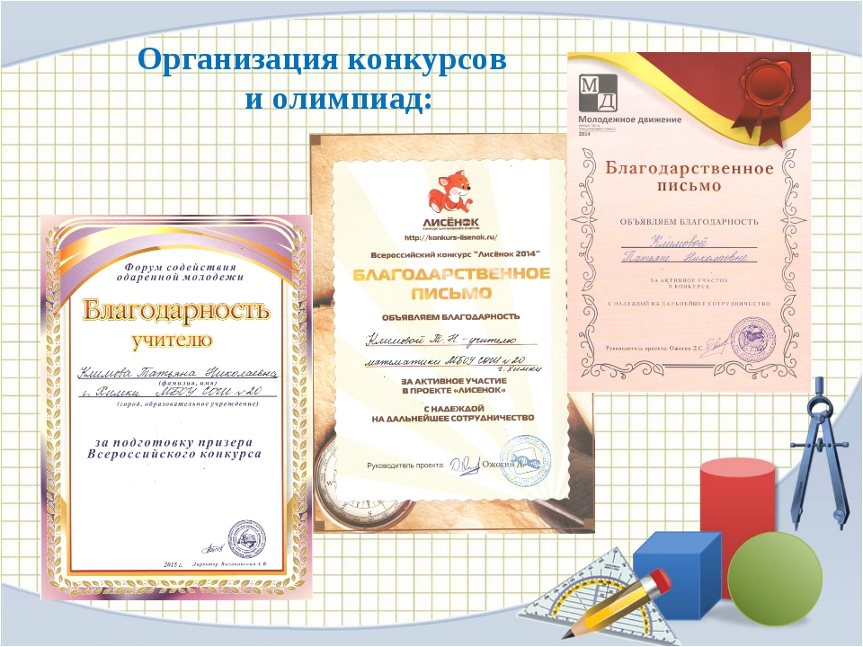 Организация конкурсов и олимпиад: