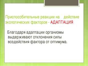Приспособительные реакции на действие экологических факторов - АДАПТАЦИЯ Благ