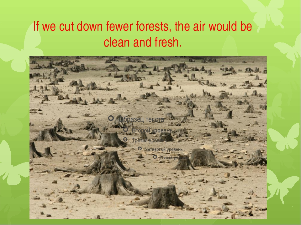 If we cut down fewer forests, the air would be clean and fresh.
