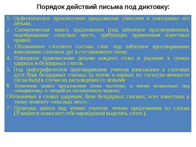 Порядок действий письма под диктовку: Мет. рек., с. 328 1. Орфоэпическое прои...
