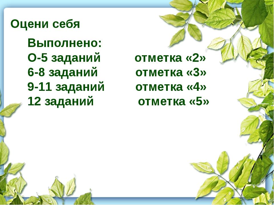 Оцени себя Выполнено: О-5 заданий отметка «2» 6-8 заданий отметка «3» 9-11 з...