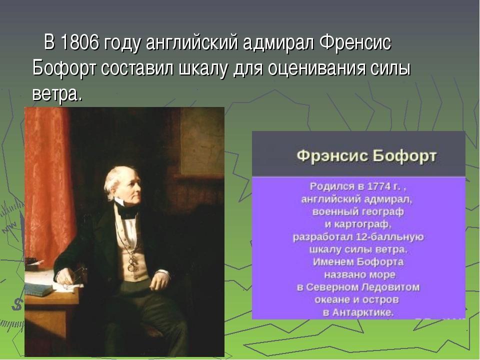 В 1806 году английский адмирал Френсис Бофорт составил шкалу для оценивания...
