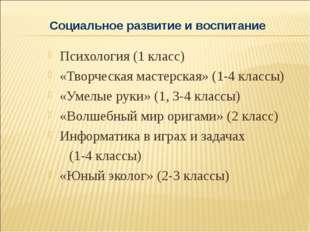 Психология (1 класс) «Творческая мастерская» (1-4 классы) «Умелые руки» (1, 3