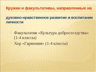 Факультатив «Культура добрососедства» (1-4 классы) Хор «Гармония» (1-4 классы