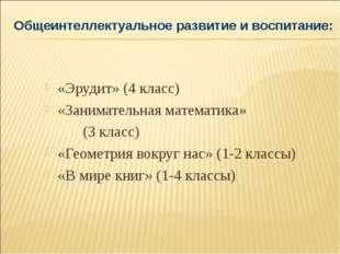 «Эрудит» (4 класс) «Занимательная математика» (3 класс) «Геометрия вокруг нас