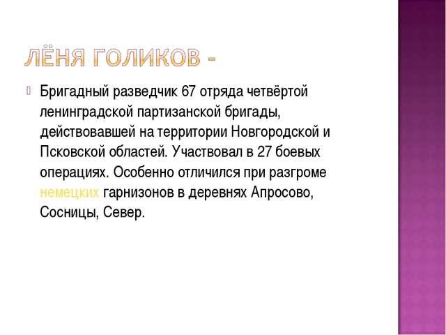 Бригадный разведчик 67 отряда четвёртой ленинградской партизанской бригады, д...