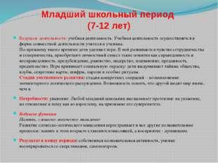 Младший школьный период (7-12 лет) Ведущая деятельность:учебная деятельность