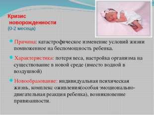 Кризис новорожденности (0-2 месеца) Причина: катастрофическое изменение услов