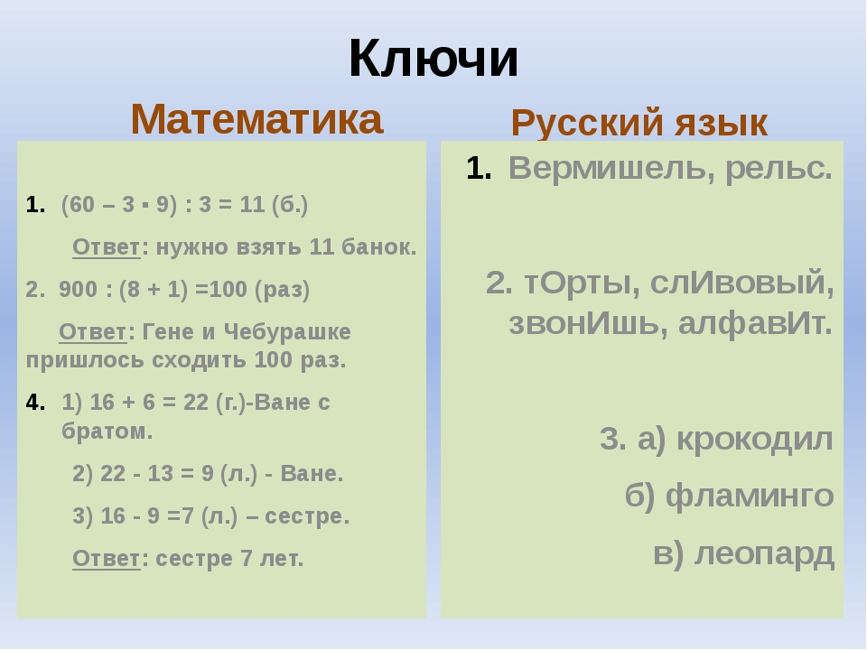Ключи Математика (60 – 3 ▪ 9) : 3 = 11 (б.) Ответ: нужно взять 11 банок. 2. 9...