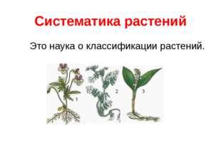 Систематика растений Это наука о классификации растений.