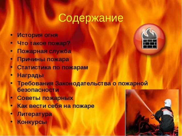 Содержание История огня Что такое пожар? Пожарная служба Причины пожара Стати...