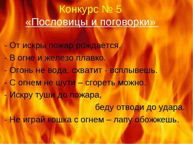 Конкурс № 5 «Пословицы и поговорки» - От искры пожар рождается. - В огне и же...