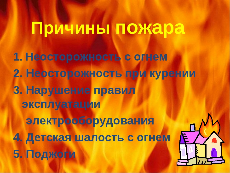 Причины пожара 1. Неосторожность с огнем 2. Неосторожность при курении 3. Нар...